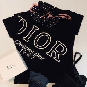 DIOR Christian J'adore Dior 1947 Black Cotton Tee